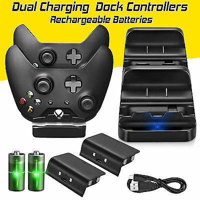 2X USB Charger Docking Station Charging Battery Stand for XBOX One Controller UK