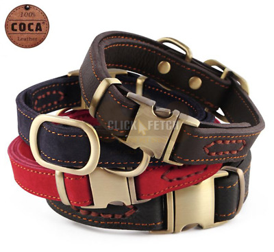 Heavy Duty Designer Dog Collar - 100% Genuine Cow Leather Puppy Cat Soft Suede