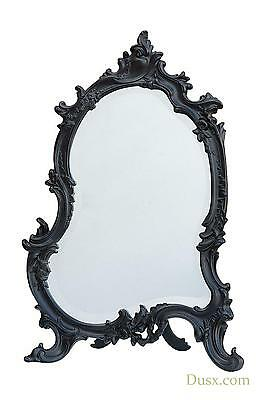 DUSX Antique Style French Rococo Black Bevelled Table or Wall Mirror 35 x 58cm