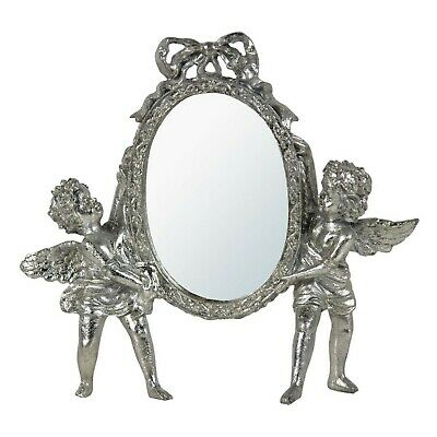 DUSX Champagne Silver Gilt Leaf Cherub Oval Bevelled Table Mirror