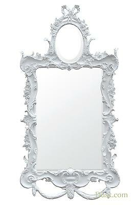 DUSX Etienne French Rococo Antique Style White Two Mirror Decorative Wall Mirror