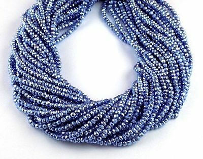"""5 Strand Tanzanite Pyrite Faceted Gemstone Rondelle Shape Beads 3.5-4mm 13"""" Long"""