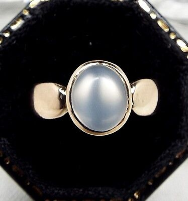 Antique Victorian 15ct Beautiful Yellow Gold Moonstone Cabochon Ring / Size K