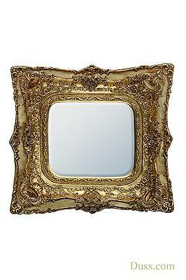 DUSX Rosetti Baroque Gold Gilt Leaf Double Framed Wall Bedroom Mirror 90 x 100cm