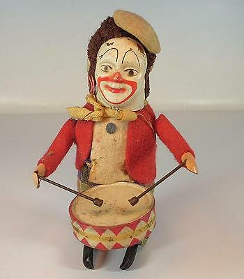 Schuco Tanzfigur Clown mit Trommel Uhrwerk Vorkrieg Made in Germany #1114