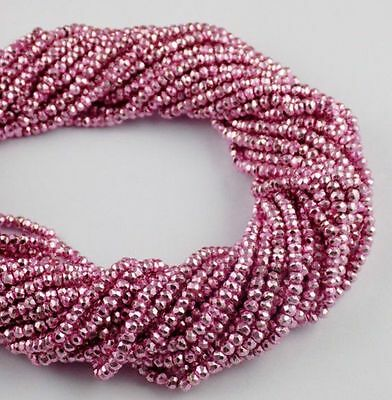 """5 Strand Pink Coated Pyrite Gemstone Faceted Rondelle Beads 3.5-4mm 13"""" Long"""