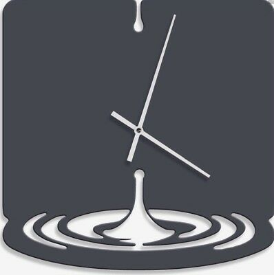 Modern Contemporary Water-drop / Drip Kitchen Wall Clock In Black Gloss Acrylic