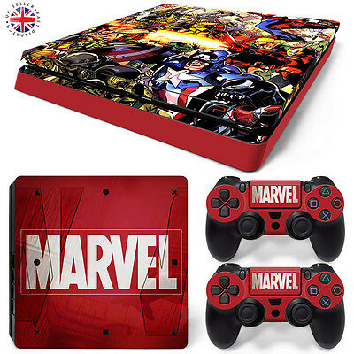 MARVEL UNIVERSE PS4 SLIM Playstation 4 Wrap Skin Sticker Cover IRONMAN SPIDERMAN