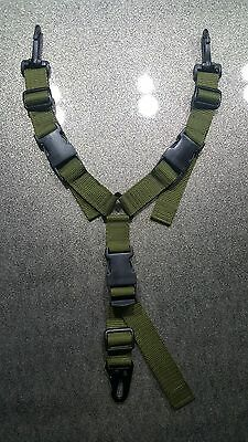 OLIVE GREEN 2 IN 1 Y-SLING WITH Hk-TYPE SNAP HOOK,AIRSOFT,PAINTBALL,HUNTING ETC.