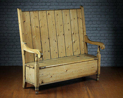 Antique High Back Pine Box Settle c.1880.