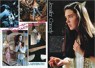 """JENNIFER CONNELLY """"Labyrinth"""" 1986 JPN PICTURE CLIPPINGS 2-Sheets(3-Pages) #PG/Y"""