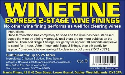 Winefine Express 2 Stage Wine Finings Sachet For Clearing 5g Home Made Wine