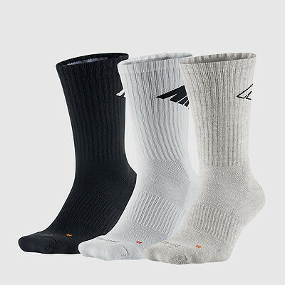 $40 NIKE Men's 3 PAIR PACK DRI-FIT Cotton CREW SOCKS Black White Gray SHOE 8-12