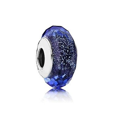 S925 Silver EURO Murano Glass Iridescent Faceted Blue Charm +FREE Pandora Cloth