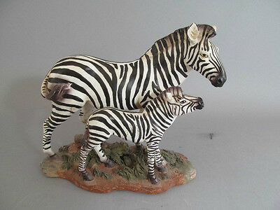 Cast Resin Hand Painted Mother Zebra And Foal Figurine