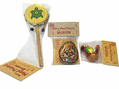 559,581,532 Peru Set Ocarina, Spin Drum, Water Chirp Clay Whistle Music Combo Pk