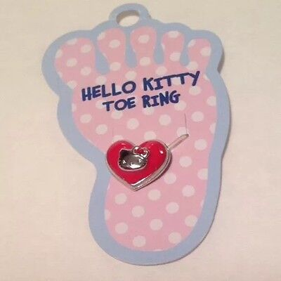 Sanrio Hello Kitty Red Heart Stretch Toe Ring Enamel Crystal Valentine's Day NOS