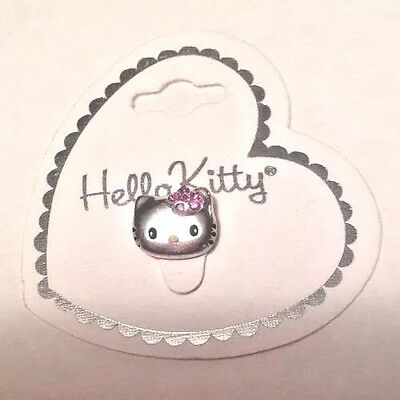 Sanrio Hello Kitty Face Stretch Toe Ring w Pink Crystal Flower Made In USA NEW
