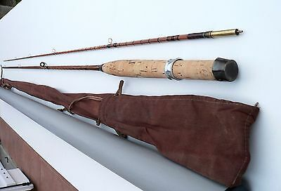 CANNE à PECHE MOUCHE bambou refendu  fly rod fishing cane bamboo soie 5 no pezon