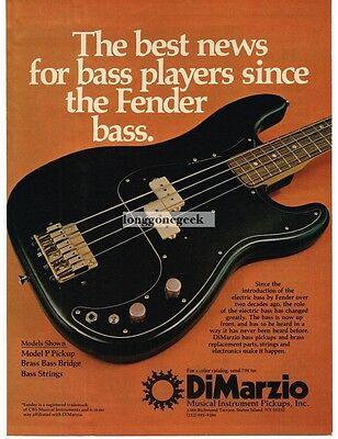 1978 DiMARZIO Pickups on Black Fender Bass Guitar Vtg Print Ad