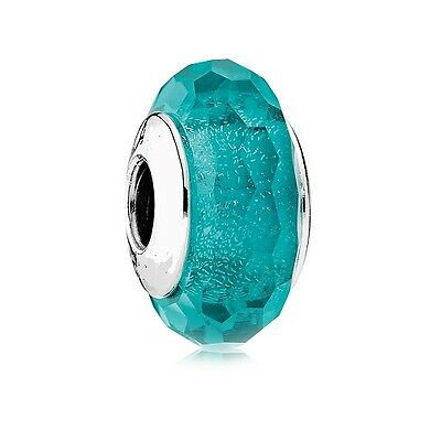 S925 Silver EURO Murano Glass Iridescent Faceted Teal Charm +FREE Pandora Cloth