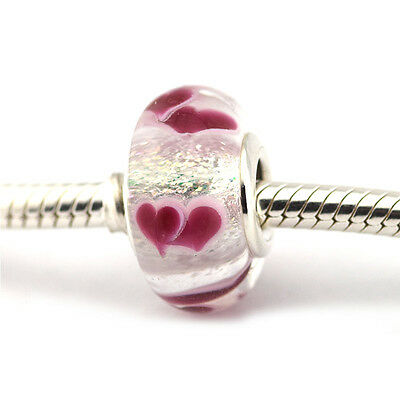 S925 Silver EURO Murano Glass Wile Hearts Pink Charm +FREE Pandora Cloth