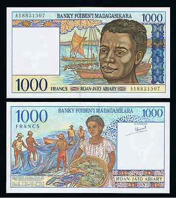 Madagascar 1000 Francs = 200 Ariary ND ( 1994 ) P 76 UNC
