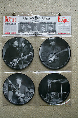 "BEATLES interview 7"" picture disc collection four 45 rpm VINYL SINGLES mint new"