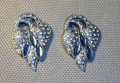 Vintage Silver Dress Shoe Clips Blue With Rhinestone