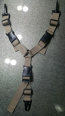 LIGHT TAN 2 IN 1 Y-SLING WITH Hk-TYPE SNAP HOOK,AIRSOFT,PAINTBALL,HUNTING ETC.