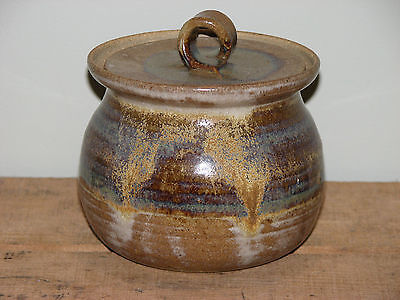 Handcrafted Pottery Pot with Lid Brown Purple Blue Applied Loop Handle signed BN