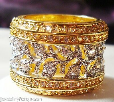 Bold European CZ Cubic Zirconia 18K Two Tone Gold GP Eternity Band Ring Size 9