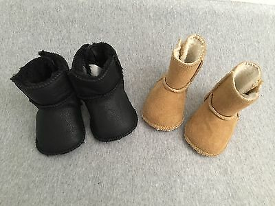 Baby Sherpa Booties,Lot Of Two Pairs,0-6 Months