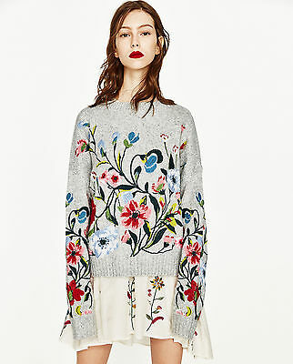 New Ss17 Zara Sweater With Embroidered Flowers 9325/003 Size S / M