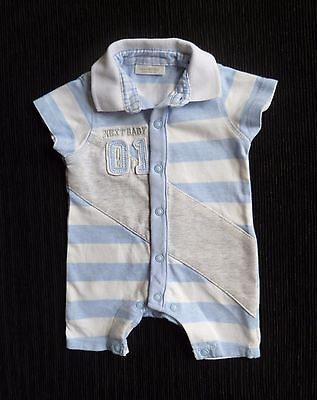 Baby clothes BOY premature/tiny<7.5lbs/3.4kg NEXT collar romper all-in-one blue+