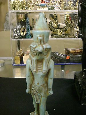 Vintage Hand Carved Natural Limestone God Horus Statue 1981 Made In Egypt