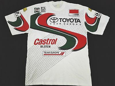 VINTAGE TOYOTA TEAM EUROPE WORLD RALLY CHAMPIONSHIP T SHIRT CASTROL 90s PROMO L