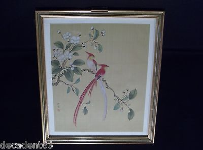 Japanese Vintage Original Watercolour Exotic Birds On Silk Signed (W002)