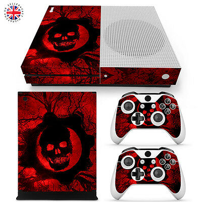GEARS OF WAR XBOX ONE S Wrap Skin Sticker Cover CONSOLE + CONTROLLERS