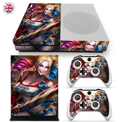 HARLEY QUINN XBOX ONE S Wrap Skin Sticker Dust Cover BATMAN CONSOLE CONTROLLERS