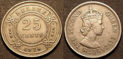BELIZE coin 1976  25 cents  ELIZABETH II  GREAT COIN