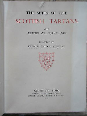 Old 1950 Book Setts of Scottish Tartans by Donald Calder Stewart Autographed Etc