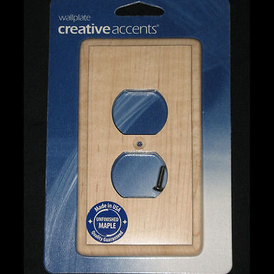 Maple Switch Plate Cover Unfinished Wood Duplex Receptacle Outlet NEW