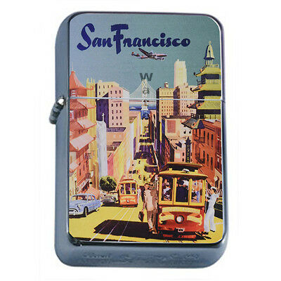 Vintage Poster D25 Windproof Dual Flame Torch Lighter San Francisco Retro Travel