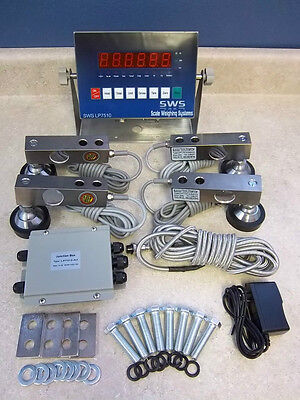 SWS-7720 10,000lb NTEP LOAD CELL TANK CONVEYOR FLOOR SCALE KIT W/ SS LED Display