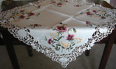 "Embroidered Laced TABLECLOTH 33""/84cm Cut Work Floral Beautiful Poppies PRPL"
