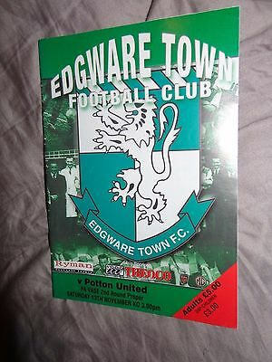 EDGWARE TOWN   V POTTON UNITED  2004/05 FA VASE 2ND ROUND Football Programme B