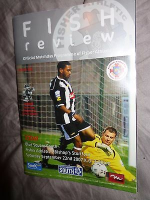 FISHER ATHLETIC  V BISHOPS STORTFORD 2007  BLUE SQUARE  Football Programme B