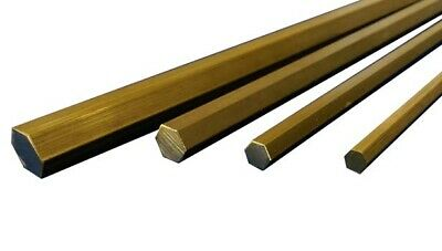 Brass Hexagonal Bar CZ121 - 5, 6, 8 &10mm A/F 50,100, 150, 300 & 600mm long