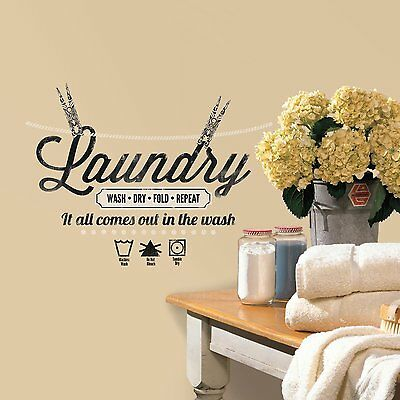 RoomMates RMK2743SCS Laundry Quote Peel and Stick Wall Decals